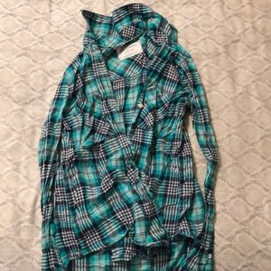 Teal and Black Flannel
